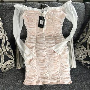 Fashion nova white mesh off the shoulder dress